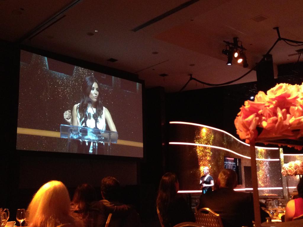Eva Longoria at the Women in Film Crystal Lucy Awards 2014