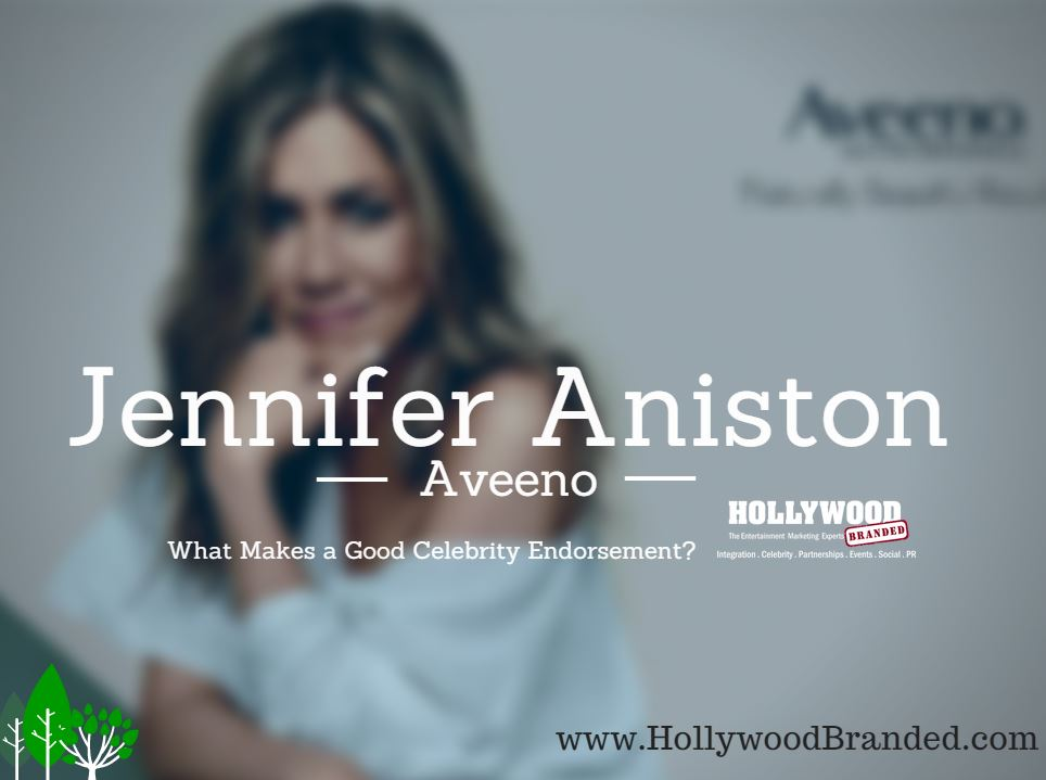 jennifer aniston celebrity endorsement with aveeno