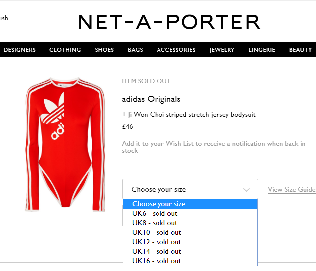 BODY SUIT SOLD OUT