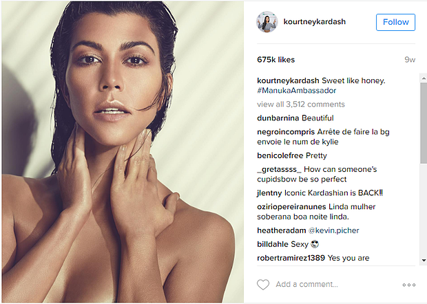 kourt manuka doctor  instagram marketing - celebrity endorsement with kardashian