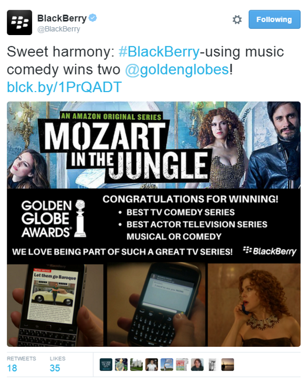 mozart in the jungle black berry post - golden globes award.png