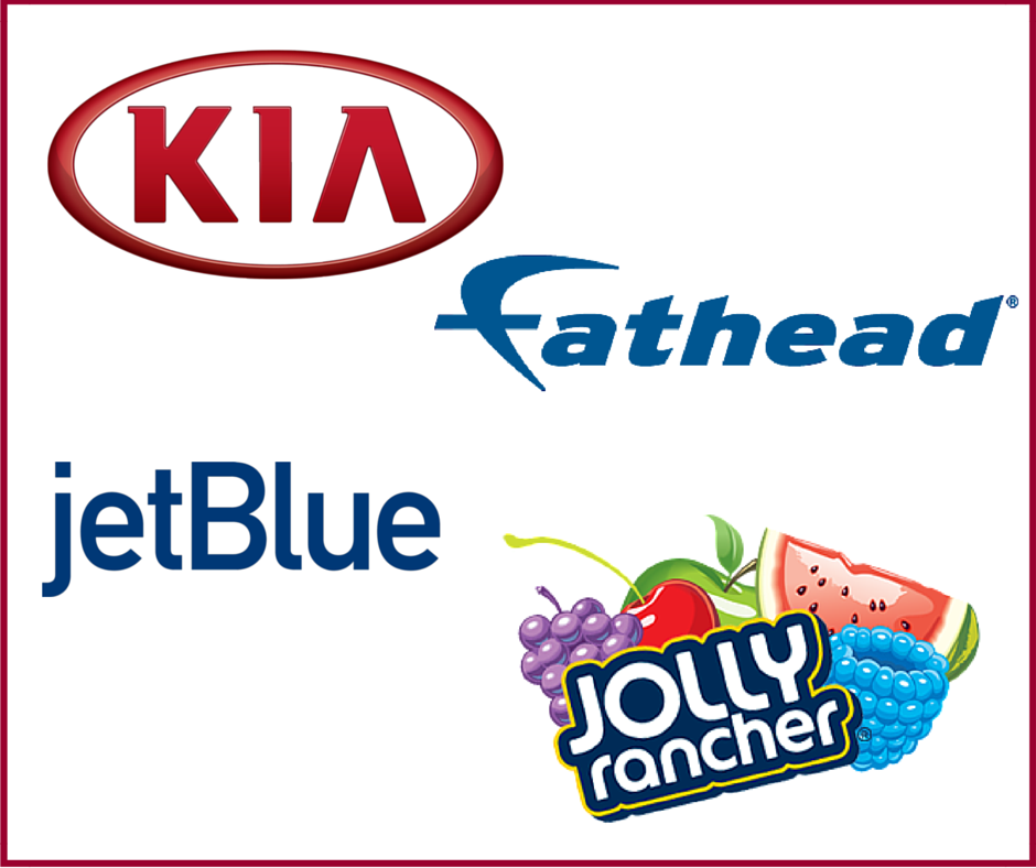 Hollywood Branded Jolly Rancher, Kia, Fathead, and jetBlue