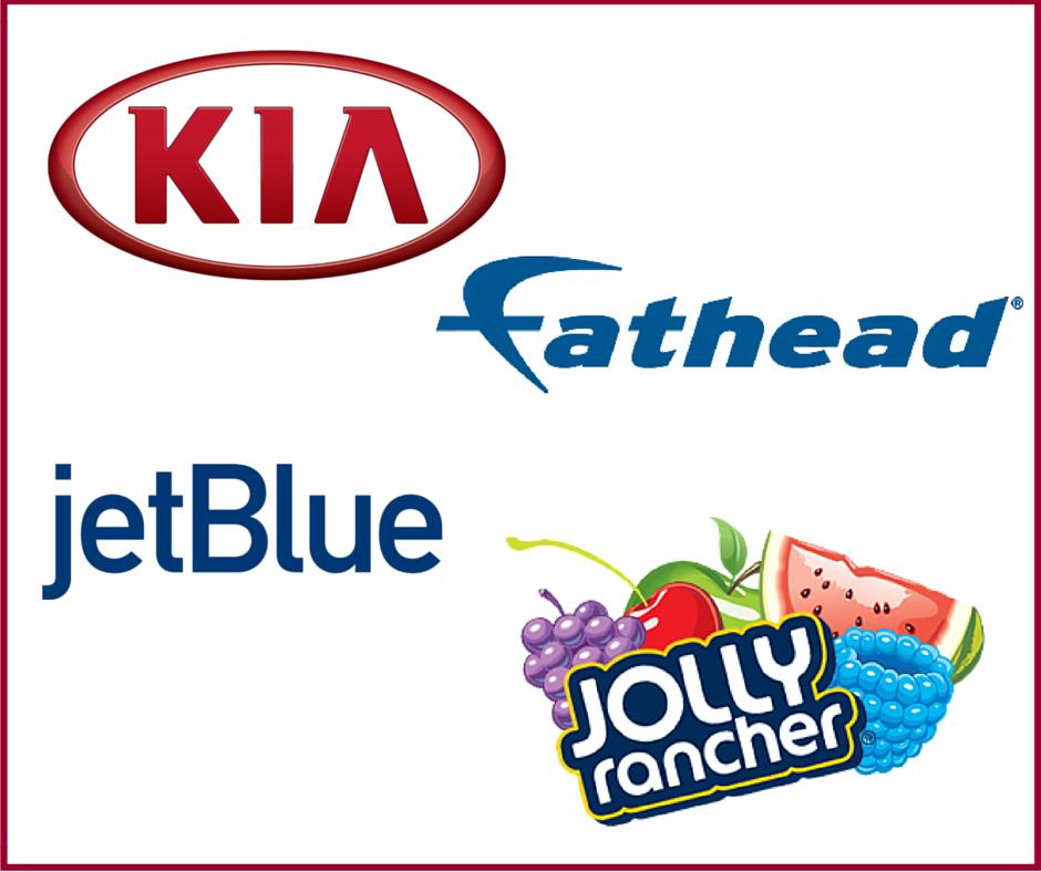 Hollywood Branded Jolly Rancher, Kia, Fathead, and jetBlue