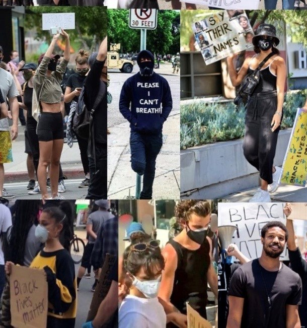 Celebs Protest - two