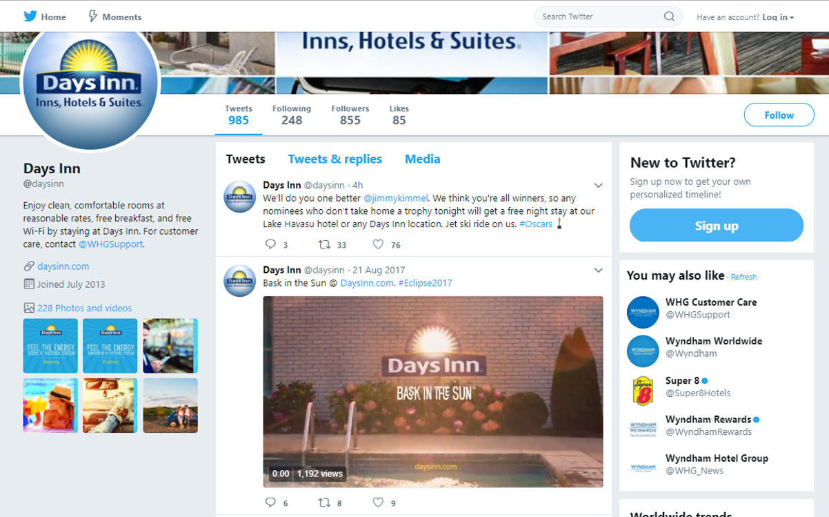 Days Inn Twitter