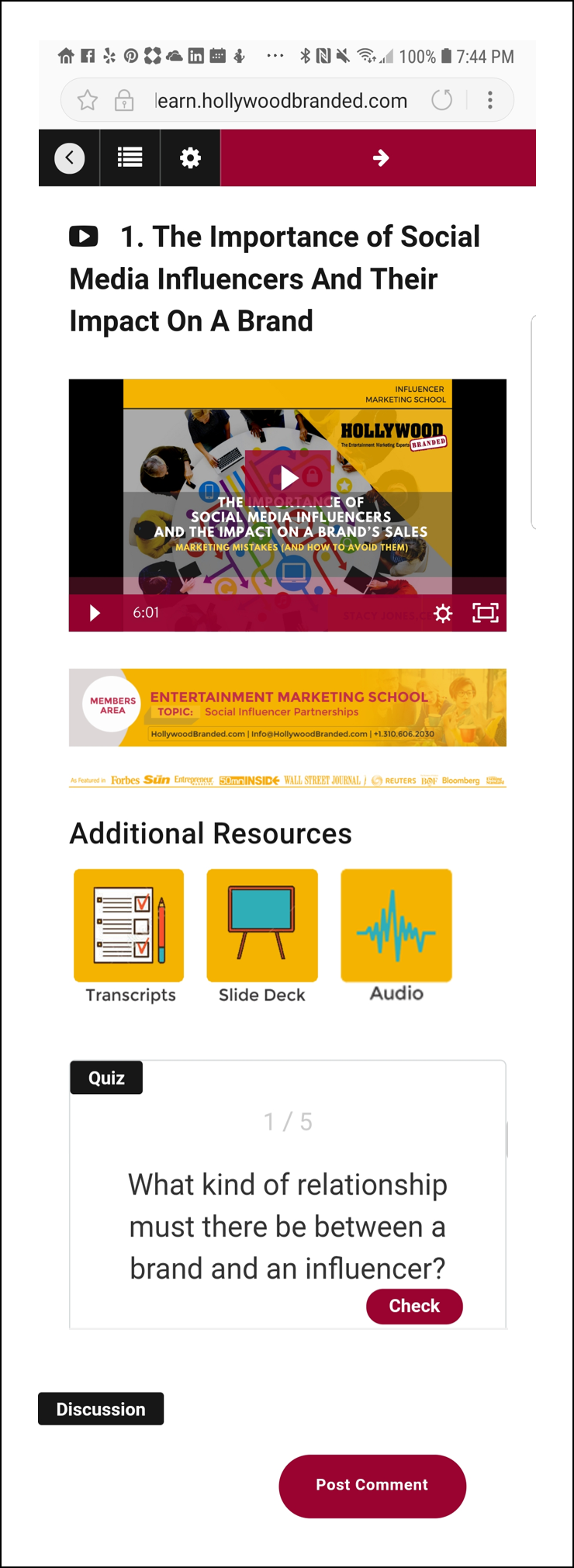 Influencer Marketing School Layout image
