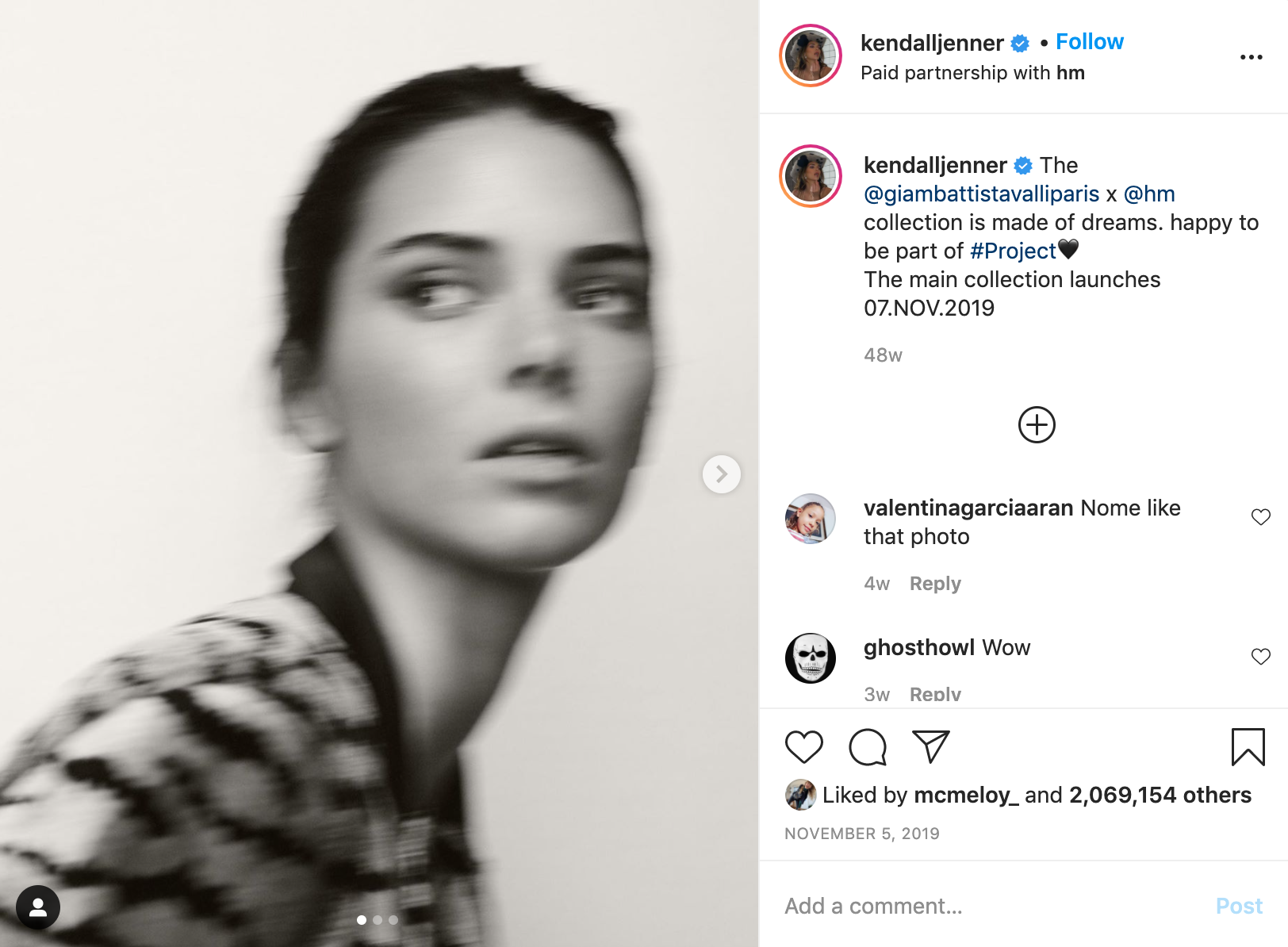 Kendall Jenner HM Influencer Instagram how Much