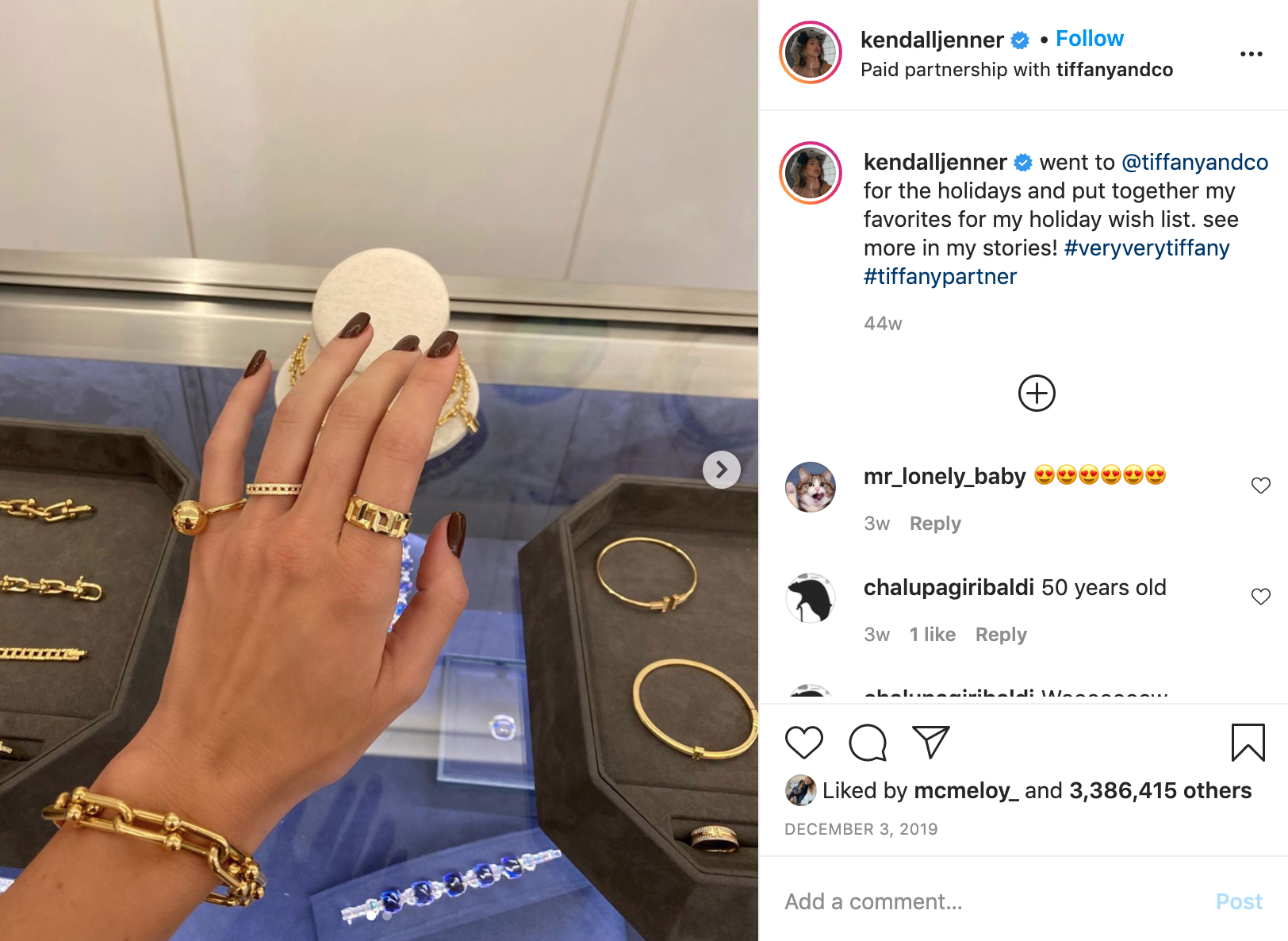 Kendall Jenner Instagram Tiffany & Co How Much Cost