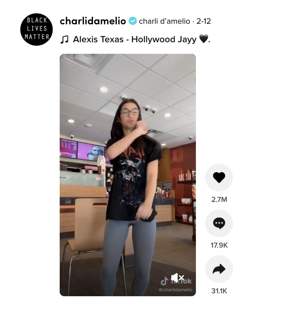 Charli Damelio dancing at Dunkin' Donuts