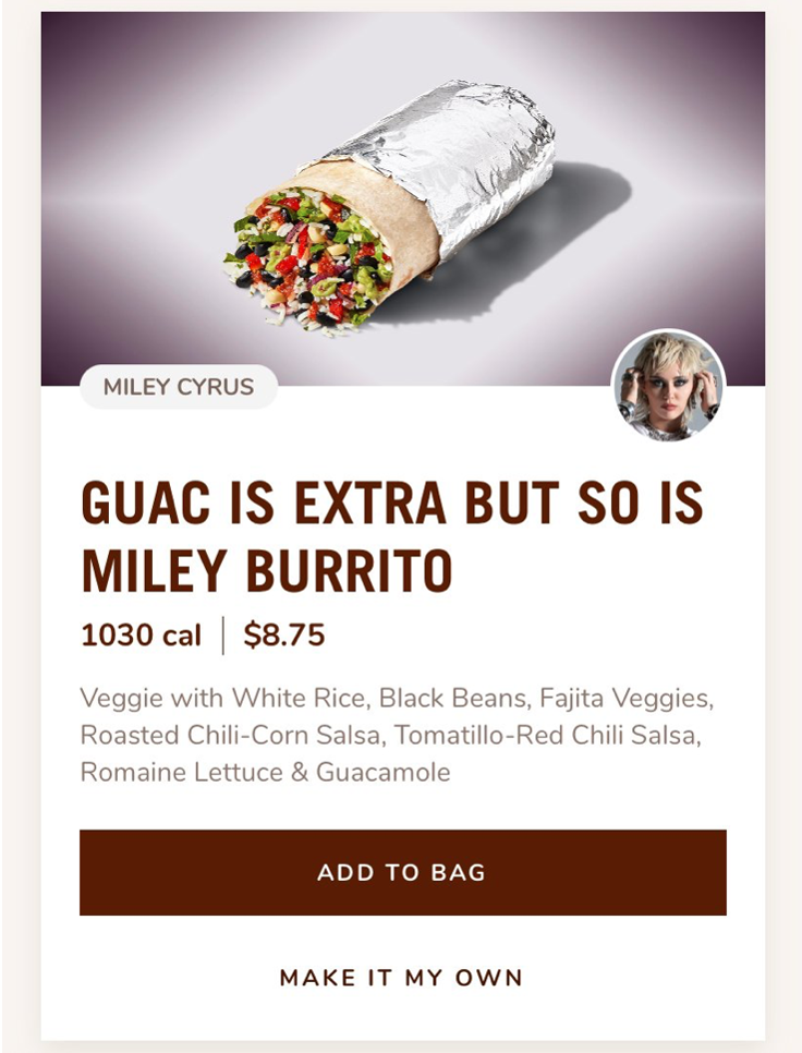 Miley Cyrrus Burrito at Chipotle
