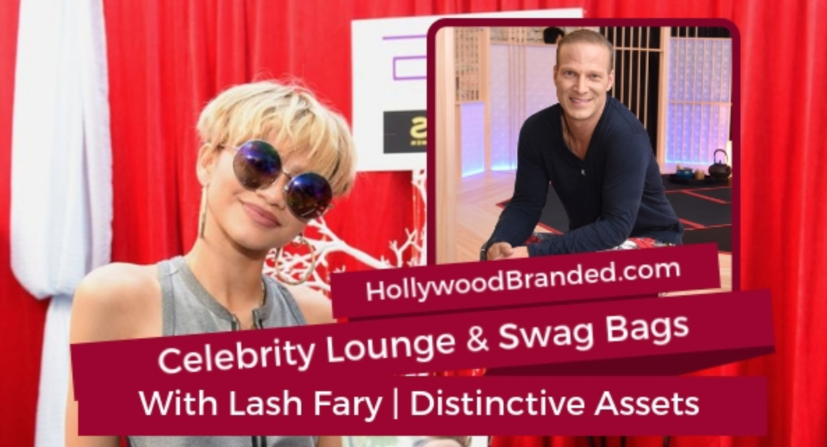 Celebrity lounge and swag bags with Lash Fary