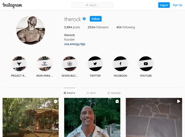 The Rock Instagram Screenshot