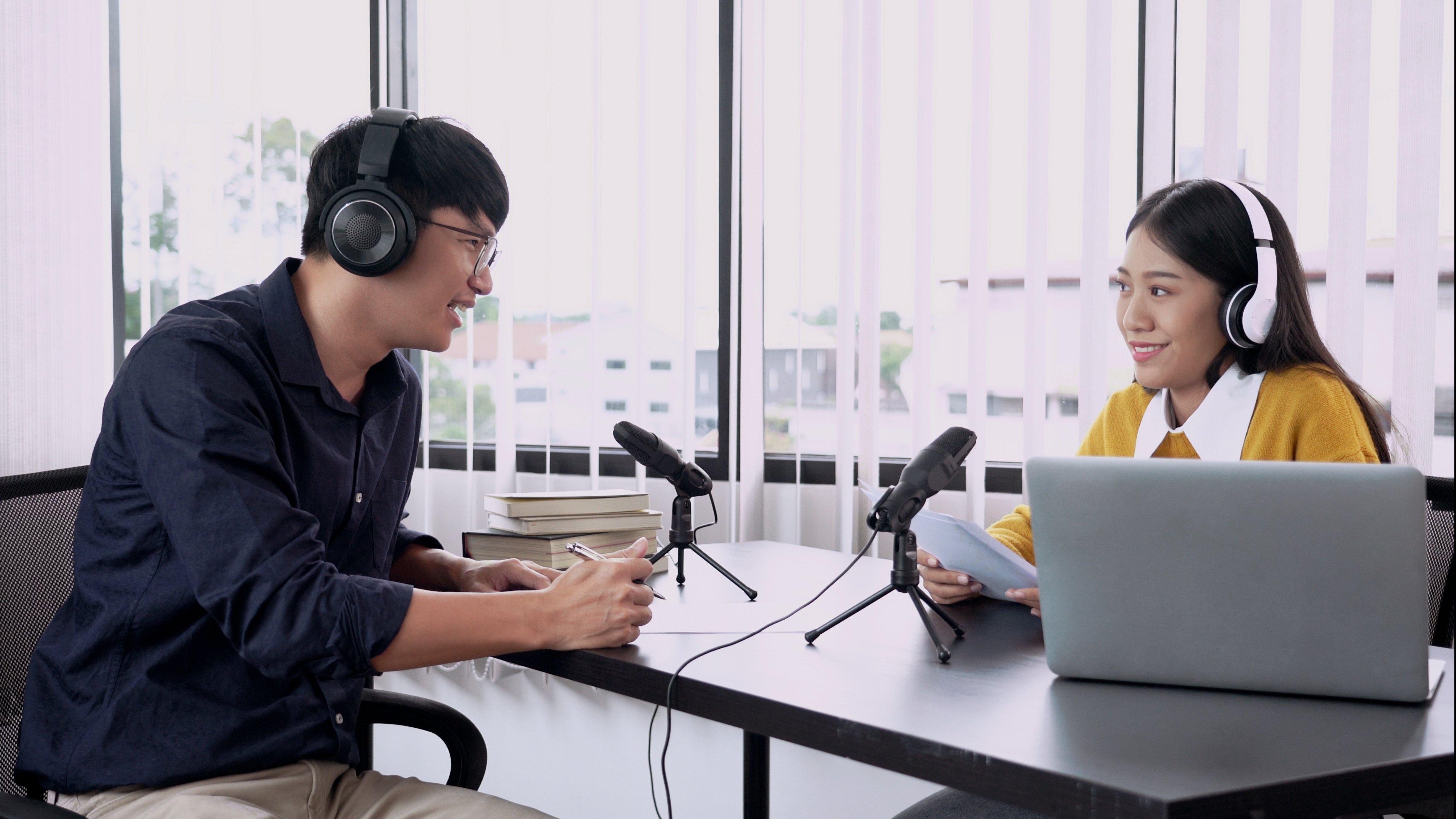 Podcast partnership ad recording