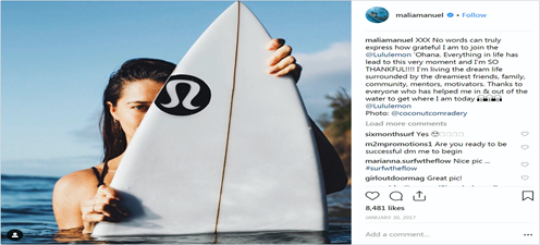 Lululemon social influencer marketing with surfers