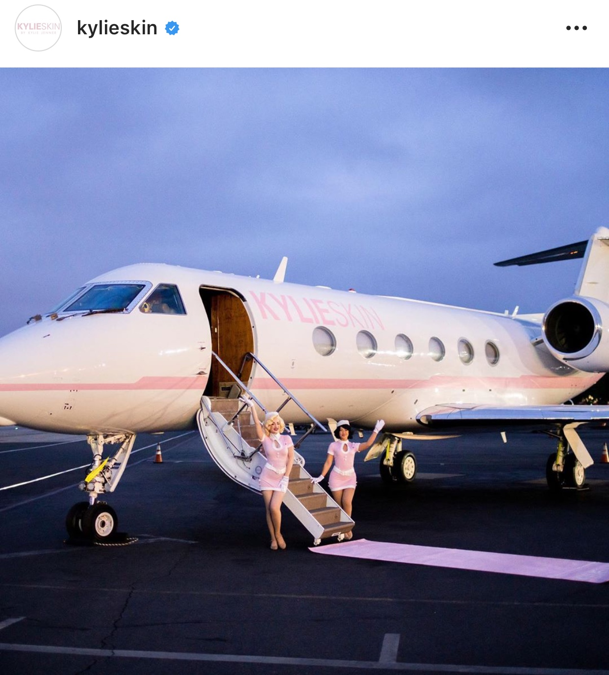 kylie skincare plane hollywood branded