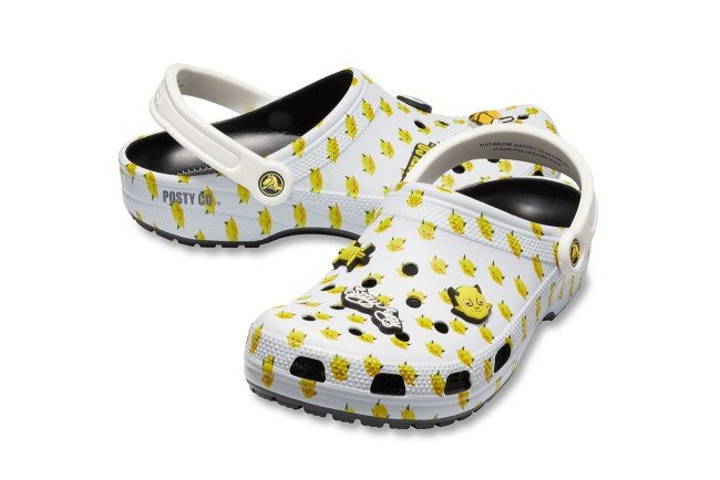 Post Malone x Crocs Dimitri Clog: The all-white shoes features a cartoonish baby devil print and a Posty Co™ label on the lateral heels of the product.